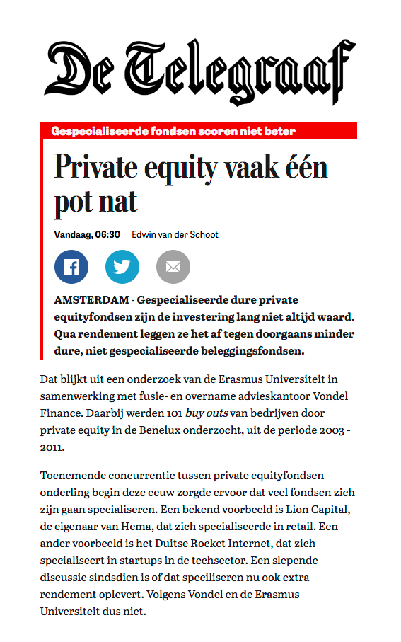 Een Pot Nat.Vondel Finance De Telegraaf Private Equity Vaak Een Pot Nat