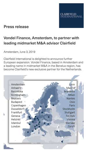 Press release | Vondel Finance Amsterdam to partner with leading midmarket M&A advisor Clairfield