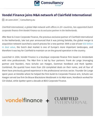 Vondel Finance joins Clairfield International